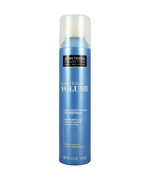 No. 3: John Frieda Luxurious Volume All Out Hold Hairspray, $6.49