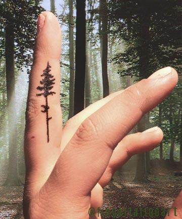 Finger Tattoos: Forest Through the Trees