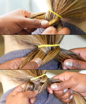 How to Do a Fishtail Braid, Step 3: Begin Weaving