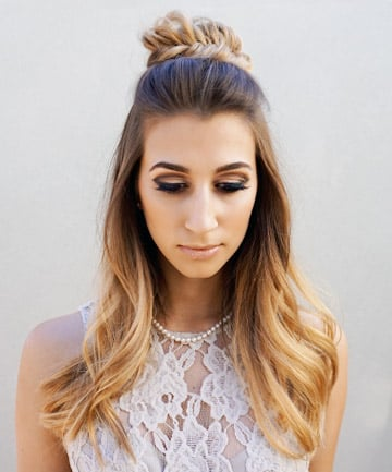 Curled hairstyles half up half down tumblr