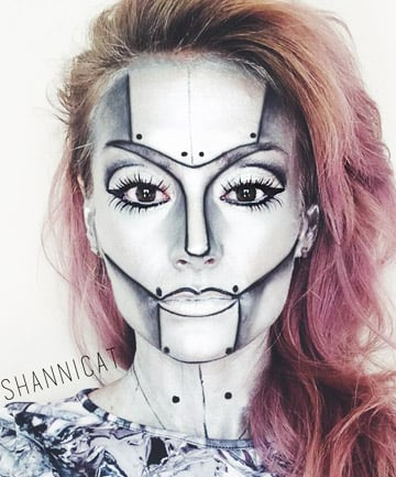 to get the look apply silver face paint makeup artist shannon obrien suggests mixing mehron