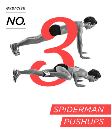 Arm exercise no. 3: Spider(wo)man pushups