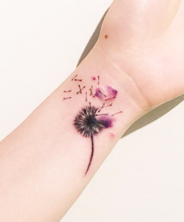 7f4ef7d1a8107 Dandelion in the Wind, 26 Gorgeous Watercolor Tattoos That Speak to ...