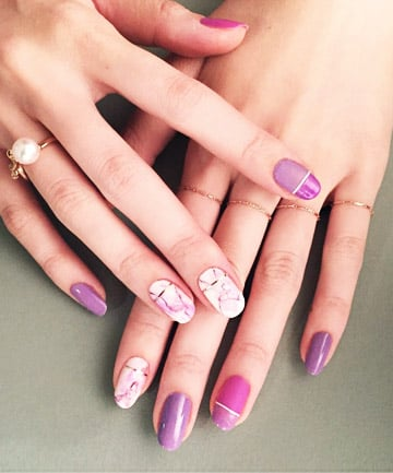 Pink and Purple Marbled Nails