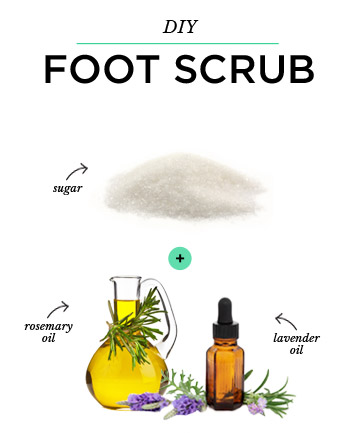 DIY Foot Scrub: Sugar + Lavender Oil + Rosemary Oil