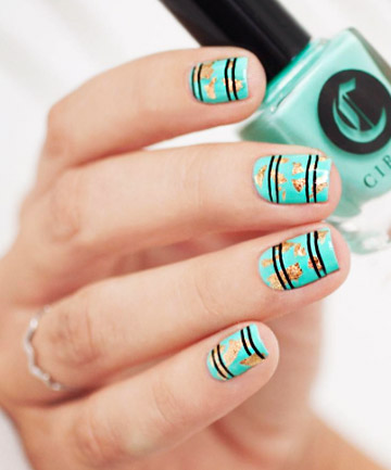 Mint and Gold, with Black Stripes
