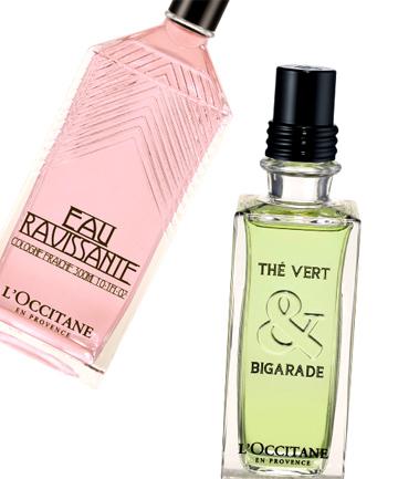 L'Occitane Eau Ravissante, $52, and thé Vert & Bigarade Eau de Toilette, $75