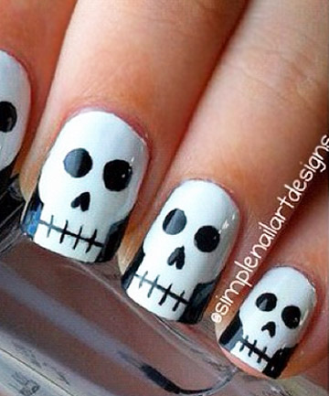 Skull Nails, 19 Amazing DIY Halloween Nail Art Ideas ...