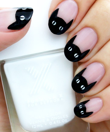 Black Cat French Manicure 19 Amazing Diy Halloween Nail Art Ideas Page 5