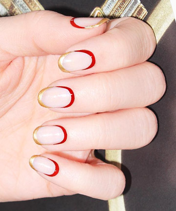 Red and Gold French Tips
