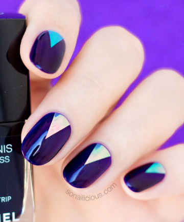 Deep Purple With Iridescent Triangles