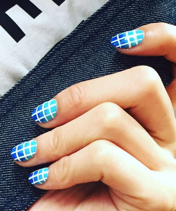 White Grid and Blue Gradient