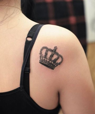 blackwork shoulder crown tattoo 19 crown tattoos that prove your