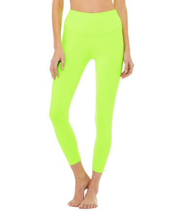 Alo Limited-Edition Exclusive 7/8 High Waist Neon Airbrush Legging in Acid Lime, $78
