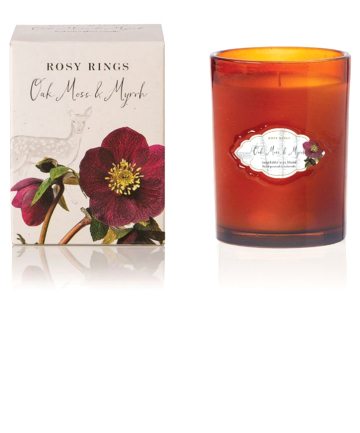Rosy Rings Oak Moss + Myrrh Signature Glass Candle, $29