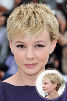 Carey Mulligan's Pixie Cut with Sideswept Bangs