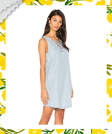 Chambray Lace-Up Summer Dress