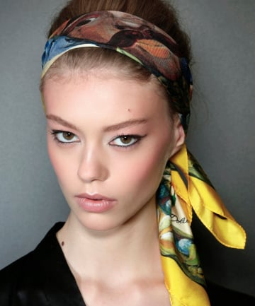 aca073812e8c8 Bouffant Beauty Dolce & Gabbana never fails to provide headscarf inspo. To  achieve this chic look, fold your headscarf into thirds and tie around a  polished ...