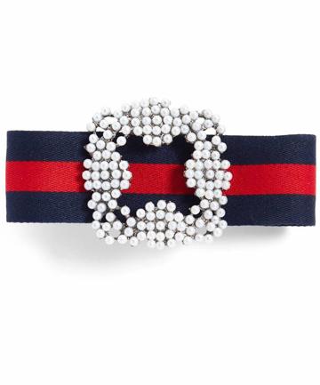 Cara Imitation Pearl & Ribbon Barrette, $25