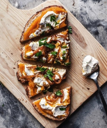 Butternut Squash Butter, Caramelized Onions and Almond Ricotta