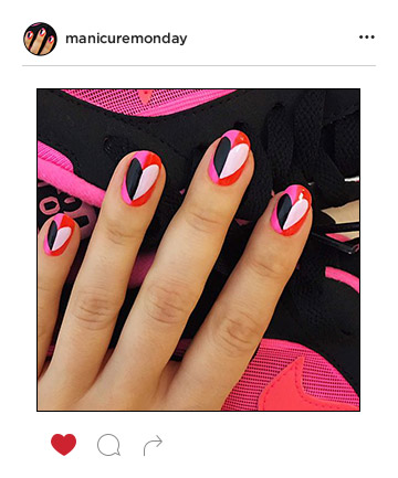 Mani Of The Week Modern Art Hearts Manicuremonday The Best Nail