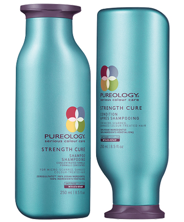 Pureology Strength Cure Shampoo, $29.50, and Conditioner, $31.50