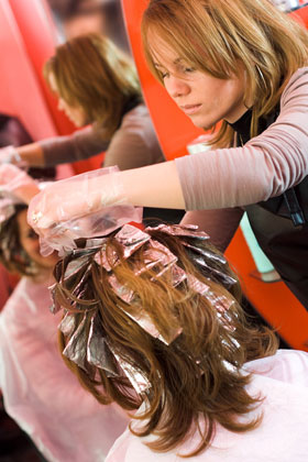 Get blonde highlights at the salon