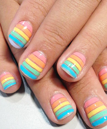 rainbow nails swell pastels  19 rainbow nail designs