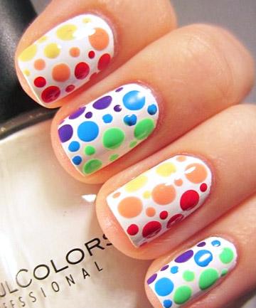 Rainbow Nails: Pretty in Polka