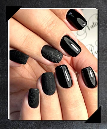 Wet Look Designs 21 Matte Black Nails That Are Edgy Af Page 13