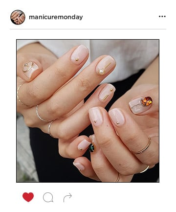 Mani of the Week: Gemstone and Gold Bedecked Nude Nails