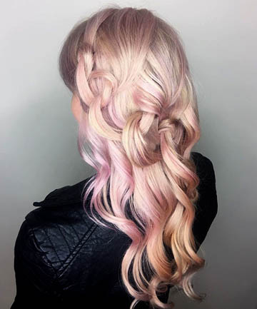 Swirly Pink and Peach Hair