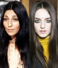 Cher's Pin Straight Hair and Center Part