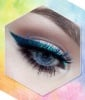 Teal Winged Liner with Blue Mascara
