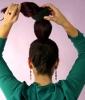 Sock Bun Tutorial Step 3: Pull Your Hair Through the Insert