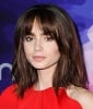 Lily Collins' Straight Haircut With Bangs