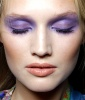 Lilac eyeshadow and natural sheen lips