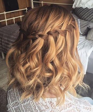waterfall braid with short curly hair   short curly hair