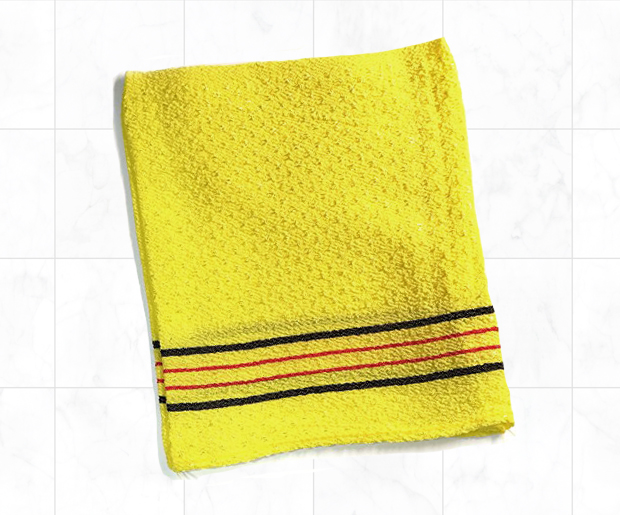The exfoliating cloth used to aggressively separate skin from its owner.