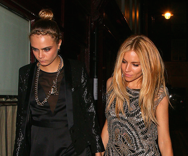 Out and about in London last night with (bang-wearing) pal Sienna Miller