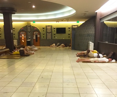Inside the jimjilbang, public sleeping is the norm.