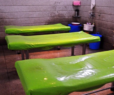 The plastic tables common in Korean spas, used for stripping spa visitors of their skin.