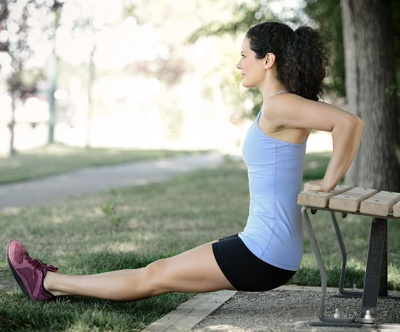 One of the best arm workouts without weights for triceps is this one - triceps dips