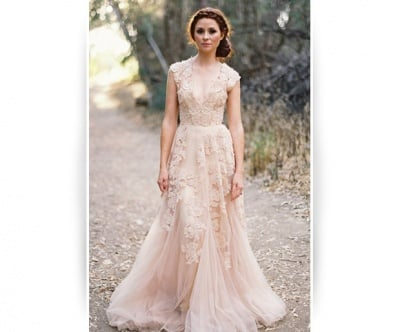 If Blair Waldorf S Wedding Dress Inspired You Here Is Another Flowered Design In Soft Blush