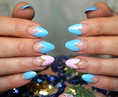 Floral-tipped, almond-shaped acrylic nails