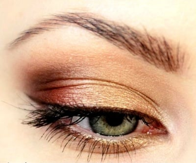 Megan, the M.A.C. makeup artist, gave me a sunset eye like this one that made me see past my alien eyes.