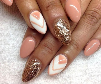 Almond-shaped acrylic nails with geometric designs