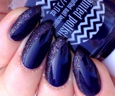 Monochromatic cream and glitter almond-shaped acrylic nails