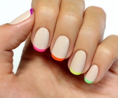 Colorful tipped nail art wakes up nude nails