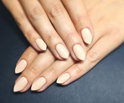 Try pointed tips for dramatic nude nail art design